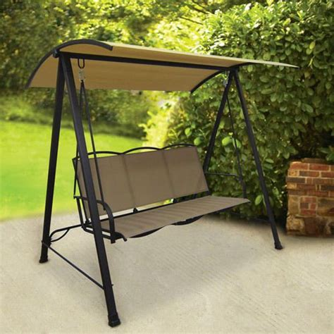 swing set patio outdoor tan patio sling swing canopy 3 person garden deck
