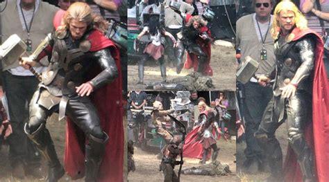 judul film thor chris hemsworth kembali angkat palu di foto syuting thor