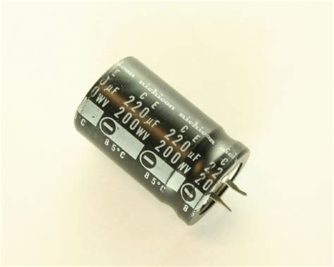 capacitor 220uf 200v lgq2d221mhsa nichicon capacitor 220uf 200v aluminum electrolytic snap in high temp 2020020971