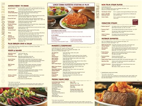 outback steak house menu menu for outback steakhouse 1801 se 10th ave