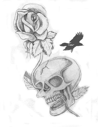rose n skull tattoo by mtspacecreate on deviantart
