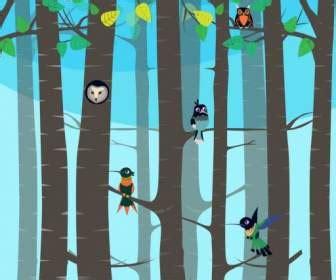 Kaos Burung Walet Background Hutan hutan latar belakang pohon pohon tumbuhan ikon kartun desain vektor icon vektor gratis