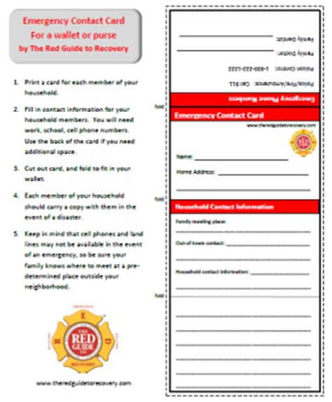 daycare emergency contact card template emergency contact card the guide to recovery