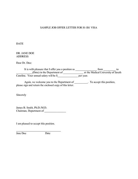 Offer Letter For Employment free offer letter template letter template 2017