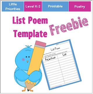 list poem template classroom freebies list poem template