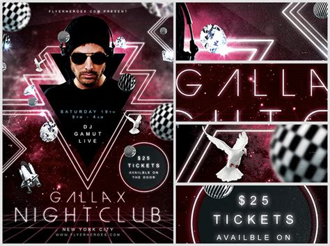 gallax nightclub flyer template flyerheroes