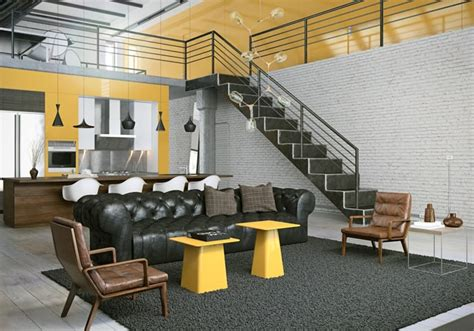 loft layout a contemporary loft owes everything to black yellow contrasts