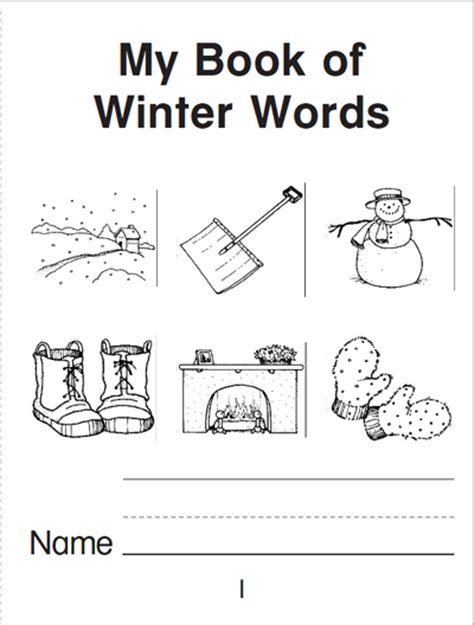 books printable for free my book of winter words a mini book parents