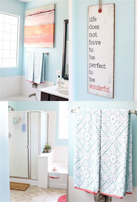 blue and coral bathroom diy coral and aqua bathroom makeover see vanessa craft