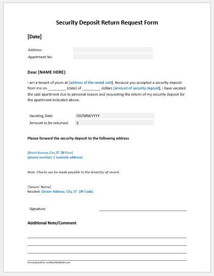 Security Deposit Template by Security Deposit Refund Request Form To Landlord Formal
