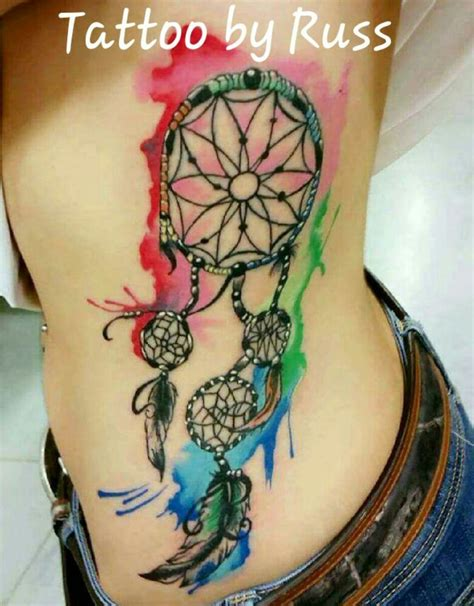watercolor dreamcatcher tattoo by russ yelp