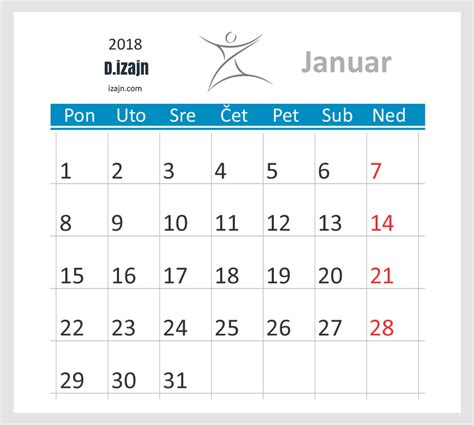 Kalendar 2018 Uskrs Kalendar 2018 Dizajn Beograd Srbija