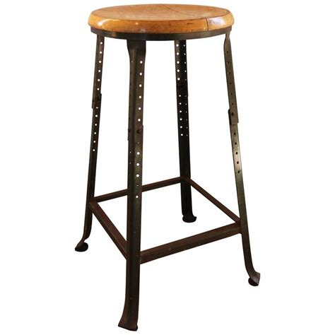 Backless Bar Stools For Sale by Vintage Industrial Backless Wood And Metal Bar Stool For