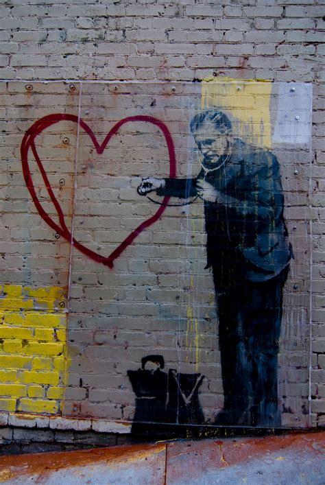 banksy street art  san francisco peaceful heart locat