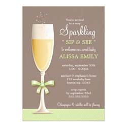 sparkling new baby neutral sip and see invitation zazzle