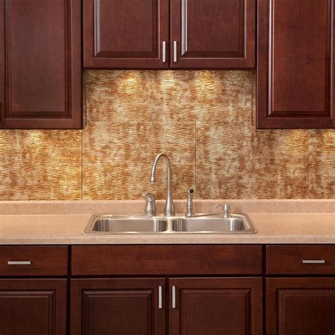 fasade backsplash panels fasade 24 in x 18 in rib pvc decorative backsplash panel in bermuda bronze b52 17 the home depot