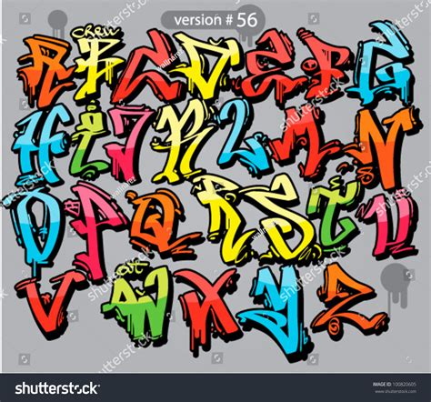 lettere stile graffiti alphabet graffiti style font stock vector