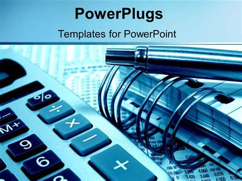 Powerpoint Template Accounting And Calculating With Pens Notebooks And Calculators On A Blue Accounting Powerpoint Templates