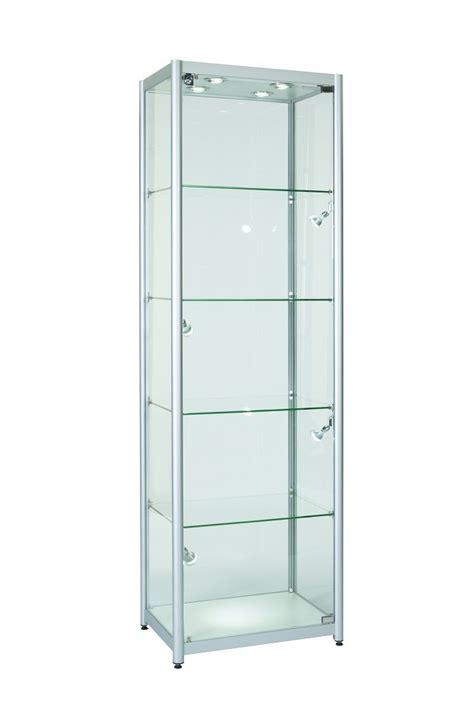 Single Glass Door Cabinet Glass Cabinet Brushed Aluminium Modern Led Lighting