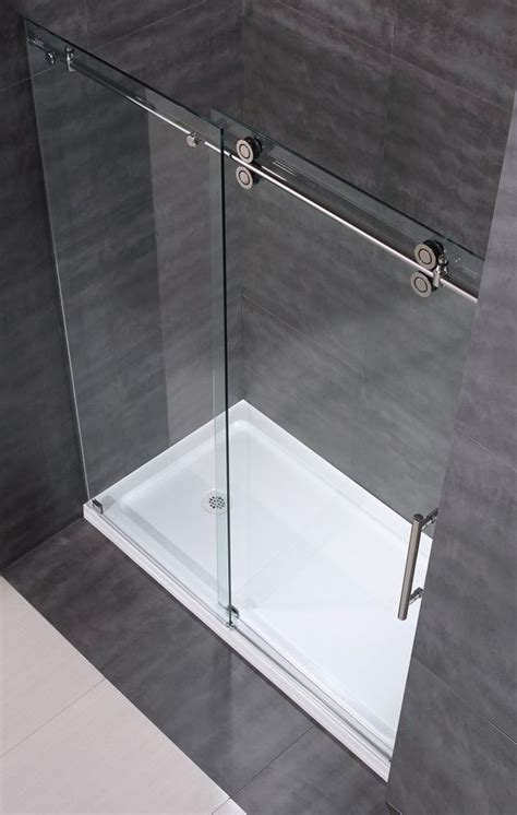 Clear Glass Frameless Sliding Shower Door Aston Sdr978 60 Quot Frameless Clear Glass Sliding Shower Door Http Www Astonbath Sdr978 60
