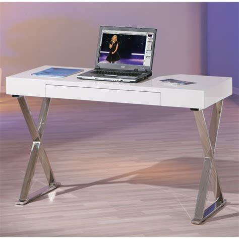 white high gloss office desk mayline laptop office desk in high gloss white 18762
