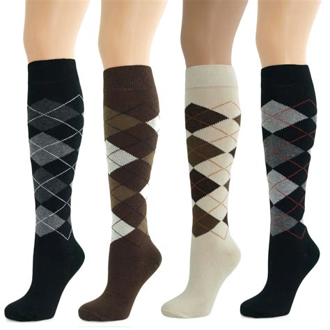 diamond pattern on socks 4 pairs womens ladies girls knee high long argyle diamond
