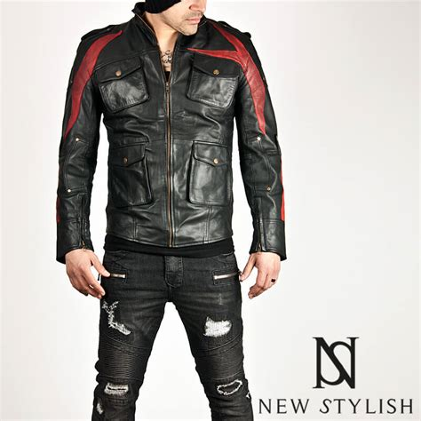 Jaket Parka Two Tone Polos Blackred outerwear striking two tone accent black leather jacket 60 for only 184 00