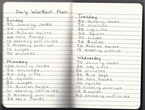 daily workout at home plan
