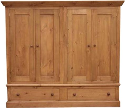 Large Pine Wardrobe by The Pine Factory Large 4 Door Pine Wardrobe With