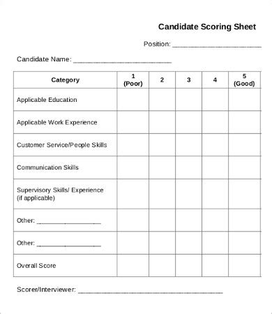 scoring template score sheet template 19 free word pdf documents