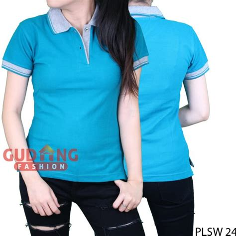 Kaos Polos Panjang Tosca kaos kerah polos pendek wanita cotton pique biru tosca