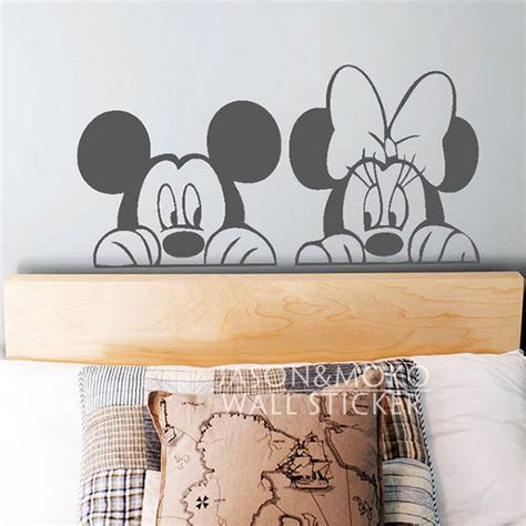 mickey mouse and minnie mouse wall sticker home decor cartoon mickey minnie mouse animal vinyl wall decal