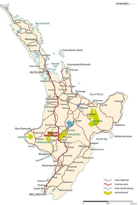 Printable Road Map North Island New Zealand | north island road map north island new zealand mappery