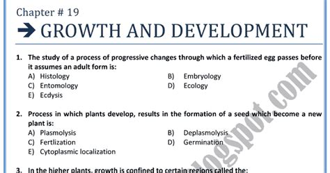 And Development Notes For Mba Students by Adamjee Coaching Biology Mcqs Xii Growth And
