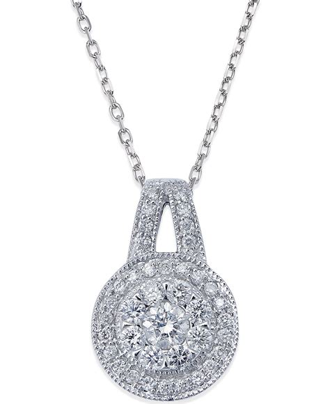 macy s circle pendant necklace in 14k white gold