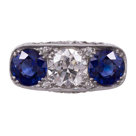 art deco platinum filigree diamond and sapphire ring