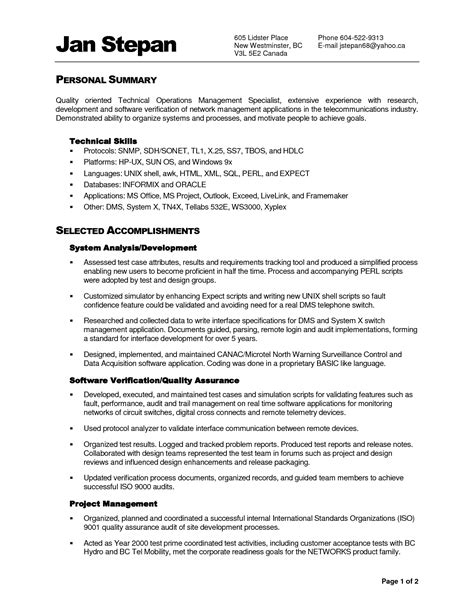 Exle Of Resume Summary by Functional Summary For Resume 28 Images Resume Summary