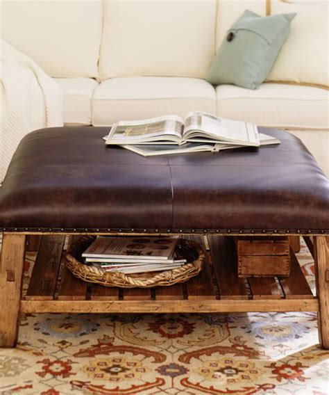 Rustic Leather Ottoman Leather Rustic Ottoman Lodge Coffee Table
