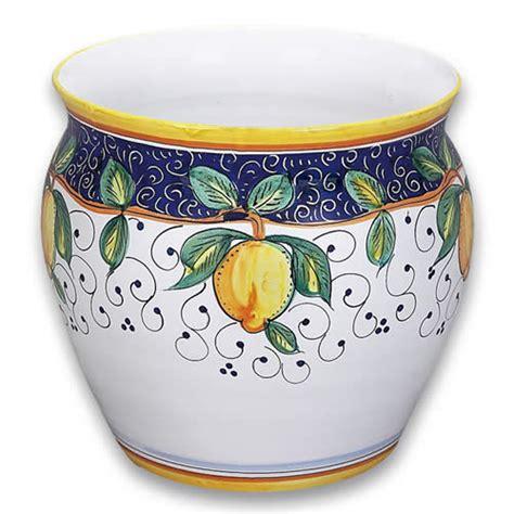 ornato wheel thrown cachepot or planter with lemon