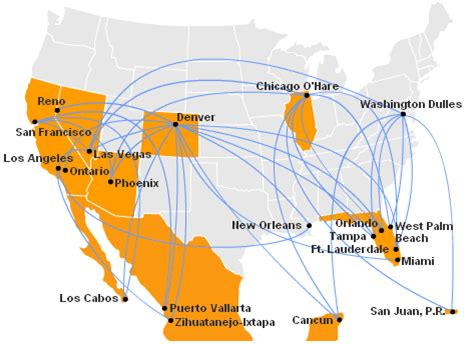 usa 3000 airlines route map ted by united route map