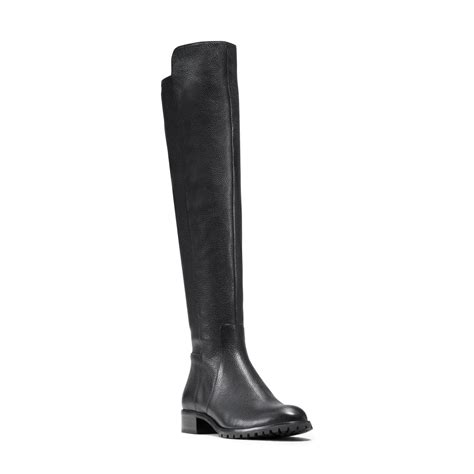 michael kors joanie stretch back leather boot in black lyst