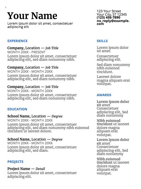 Google Doc Resume Templates Resume Template Exles