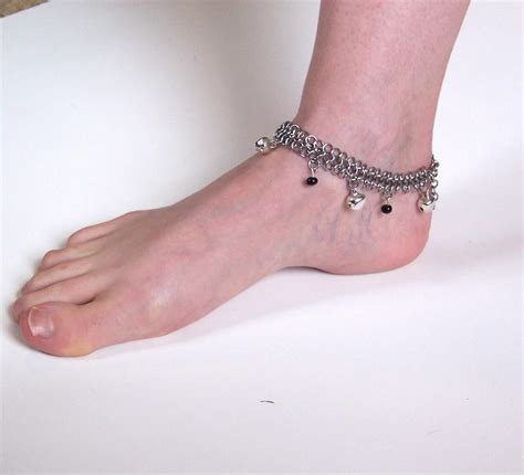 Handmade Anklet - one of a handmade chain maille anklet with bells and