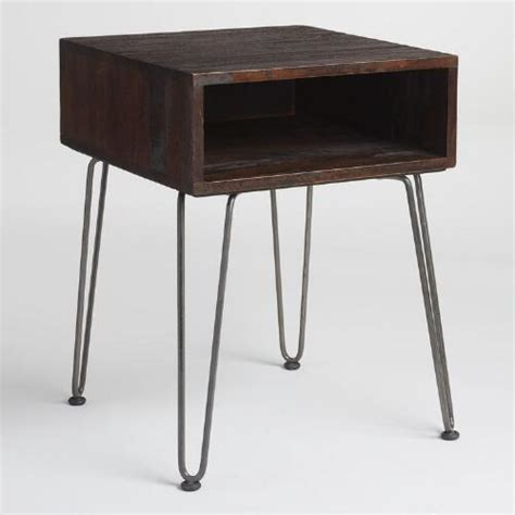 metal and wood accent table rustic brown wood and metal cubby accent table market
