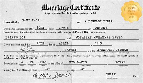 Marriage Record For Free Kentucky Marriage License Generator Make Your Own