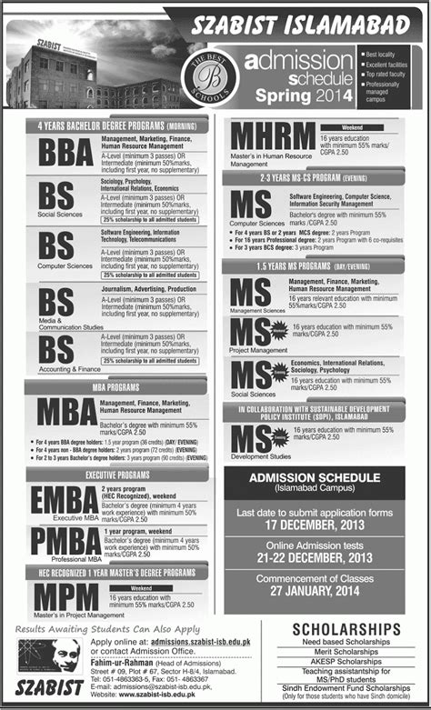 Mississppi State Mba Apply by Szabist Bba Bs Ms Mba Admission 2016 Application
