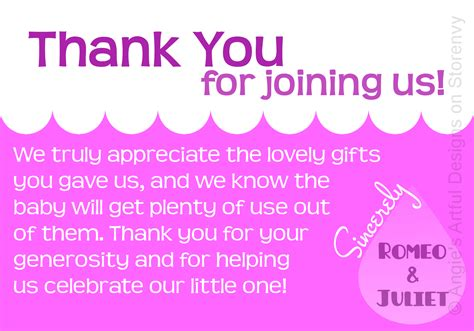 Thank You Gift Card Baby Shower - baby shower thank you cards ideas invitations templates