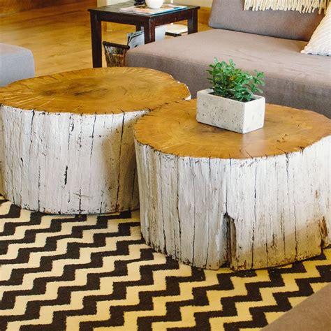 tree on table log coffee table home home someday
