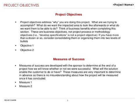 Example Objectives In Resume by Project Charter Sample