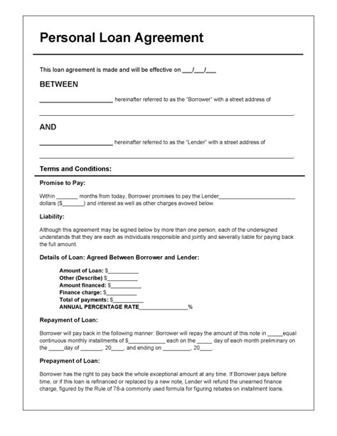 Template For Personal Loan Agreement personal loan agreement template pdf rtf